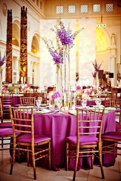 Purple Wedding ~ fun and refined #purple #wedding #reception via Collin Cowie