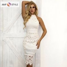Cheap Dresses, Buy Directly from China Suppliers:Joyfunear Summer Dress 2018 Women Hollow Out Sleeveless Sexy Bodycon Dress Elegant Skinny Floral Pattern Lace Dresses Vestido Elegant White Dress, White Lace Mini Dress, Elegant Dresses For Women, Trendy Dresses, Cheap Dresses, Beautiful Dresses, Casual Dresses, Lace Summer Dresses, White Dress Summer