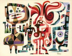 "James ""Jim"" Flora (1914 - 1998). American Artist and Illustrator. Tempera painting entitled Chance Encounter."