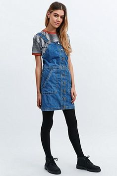 Cooperative Denim Dungaree Dress in Blue - Urban Outfitters