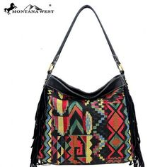 Montana West Western Aztec Collection Hobo Bag with Leather Fringe Black Handbags, Purses And Handbags, Popular Purses, Boho Trends, Western Purses, Fringe Purse, Bohemian Accessories, Cowgirl Outfits, Leather Fringe