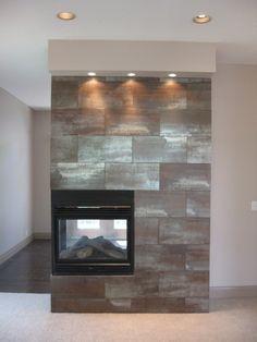 looks like galvanized steel fireplace surround