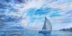 Guardian Eagle original oil painting or print of bird of prey coming from blue clouds over sailboat, spiritual, sunset seascape, reflections Painting Edges, Acrylic Painting Canvas, Canvas Art, Canvas Prints, Eagle Painting, Sailboat Painting, Happy Paintings, Your Paintings, Original Art