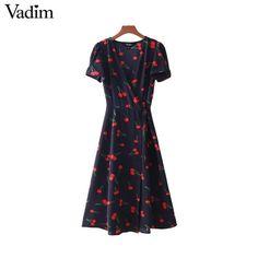 a494ec84dfac Vadim vintage V neck floral pattern midi wrap dress cherry dress bow tie  cross design short sleeve retro vestido mujer QZ3506