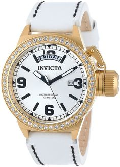 Invicta Women's 12967 Corduba Silver Dial White Leather Watch -- More info could be found at the image url.