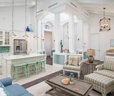 Beachy palmy home decor in sea green and pastel blue... Shop the Look: http://www.completely-coastal.com/2017/01/beach-style-with-muted-blue-sea-green.html
