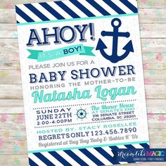 Baby Boy Shower, Ahoy Its a Boy, Nautical Invite, Anchor Invitation, Aqua and Navy, Baby Shower Printable, DIY, Baby Boy on Etsy, $13.00
