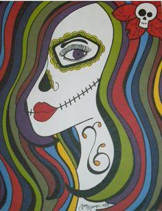Sugar Skull Girl Art, Day of the Dead Art, Dia De los Muertos, 9x12 Inch Drawing, Sugar Skull Art, Wall Decor, Tattoo Art Artwork, Original