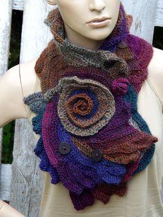 Crochet Scarf Capelet Roses Neck Warmer Unique Freeform crochet Schadows Purple Navy blue green brown Women Freeform Crochet