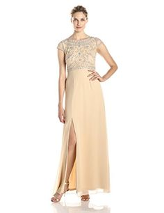 Adrianna Papell Womens Sleeveless Gown with Beaded Bodice and Scoop Neck Nude 8 * You can find out more details at the link of the image. (This is an affiliate link) #Sleevelessdresses