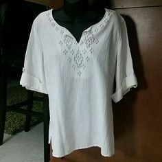 White 3/4 length top w bead embellishments White 3/ 4 length sleeve top with rolled up silver buttoned sleeves... v neck. Silver beaded embellishments on front of top.   Identical to the teal colored top listing!    Perfect condition!    100 % cotton   Hand wash cold separately  Dry flat Low iron if needed Susan Graver Tops