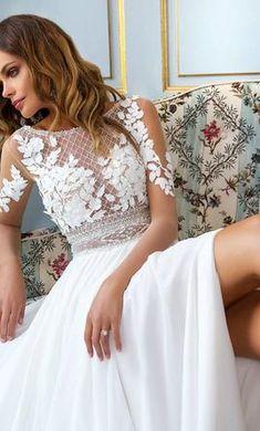 Milla Nova Madonna wedding dress currently for sale at off retail. Slit Wedding Dress, Gorgeous Wedding Dress, Dream Wedding Dresses, Wedding Shoes, Wedding Gowns, Madonna, New Dress, Nova, White Dress