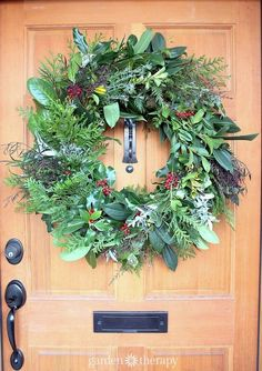 You don't need ribbons, glitter, or other embellishments when you are making a wreath - nature provides it all! This gorgeous wreath is made from only from fresh greens. Isn't it stunning?!
