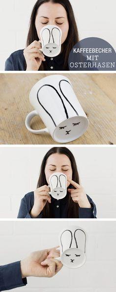 DIY-Anleitung: Bereit für Ostern? Kaffeebecher mit Osterhase verzieren / diy tutorial for an easter bunny cup, home decor via http://DaWanda.com