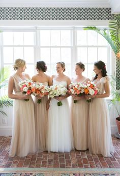Ivory chiffon bridesmaid dresses: http://www.stylemepretty.com/new-york-weddings/long-island/2016/01/21/colorful-shelter-island-summer-wedding/ | Photography: Ryon:Lockhart - http://www.ryonlockhart.com/