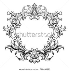Vintage Baroque Frame Border Leaf Scroll Floral Ornament Engraving Retro Flower Pattern Antique Style Swirl Decorative Design Element Black And White Filigree Vector Wedding Invitation Greeting Card - 320496323 : Shutterstock