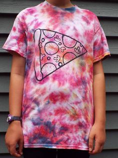 Unique pizza tiedye t-shirt for the pizza lover, college student, or dad, from Anything on a Tie Dye at Creations by Maris https://www.etsy.com/listing/539448850/pizza-shirt-unisex-adult-small-tie-dye