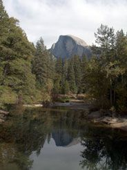 In Yosemite Valley, Sentinel Bridge is famous for its views of both Half Dome reflected in the Merced River. You can also see Yosemite Falls nearby.