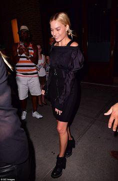 Margot Robbie showcases toned legs in black mini-dress in Manhattan | Daily Mail Online