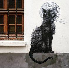 """ARDIF, """"le Chat noir de Montmartre"""" on Rue Saint-Rustique, 75018, 2018"""