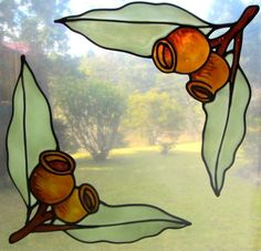 gum nut corners stained glass style suncatcher window sticker decal leadlight #sunshiners