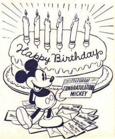 Happy Birthday Mickey Mouse! ºoº Happy Birthday Wishes Nephew, Happy Birthday Mickey Mouse, Cute Happy Birthday, Mickey Mouse Parties, Mickey Mouse And Friends, Mickey Minnie Mouse, 2nd Birthday, Vintage Mickey Mouse, Vintage Disney