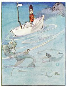 ✯ The Steadfast Tin Soldier :: Mabel Lucie Attwell -1914- ✯ fish, water rats, tadpoles, frogs...