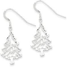 Sterling Silver Polished Christmas Tree Earrings ($31) ❤ liked on Polyvore featuring jewelry, earrings, sterling silver, sterling silver christmas earrings, christmas earrings, hook earrings, sterling silver jewellery and polish jewelry