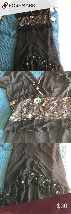 Top and matching skirt Brand new - never worn - size L probably really fits size 10/12. Black with flowers sequin accents and lace Tyron on top. Beautiful on. Top is a crop top with flutter type sleeve. Made out of polyester and silk lining Lapis Dresses High Low