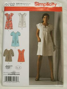 Womens Clothing Pattern Boho Dress Tunic SIMPLICITY 2702 6 8 10 12 14 NEW Uncut