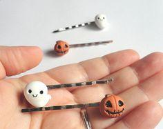 Halloween forcine Fantasma e Zucca mollettine per capelli horror in fimo spsvento mostro