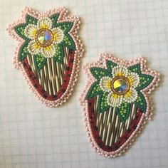 2 1/2' Beaded strawberries with quills. Can be made into posts or dangles, your choice! $85 USD, PayPal only please, shipping included! #beadwork #sam2crowbeadwork #quillwork