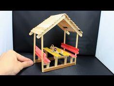 Popsicle Stick Crafts House, Popsicle Sticks, Craft Stick Crafts, Craft Sticks, Fun Crafts For Kids, Diy Home Crafts, Diy For Kids, Garden Crafts, Diy Gazebo