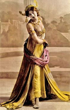 Mata Hari - Dutch exotic dancer, courtesan, and accused spy who was executed by firing squad in France on charges of espionage for Germany during World War I.
