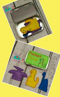 Pocket dinosaur finger puppets tin play set, embroidered, travel toy, game, role playing, puppet, quiet toy, toy, make believe, doll, dino - pinned by pin4etsy.com