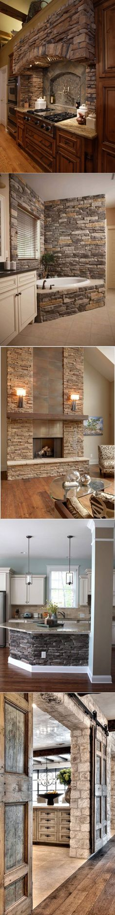 33 Best Interior Stone Wall Ideas and Designs for 2018 Best Interior, Curtains, Stone, Wall Ideas, Kitchen, Design, Home Decor, Interior Stone Walls, Projects