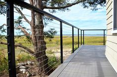 Spectrum System - Stainless Steel Square Railing with Cable Infill Option Glass Railing System, Cable Railing Systems, Balcony Railing, Deck Railings, Cable Grommet, Flexible Led Light, Hardwood Decking, Stainless Steel Railing, Decking Material