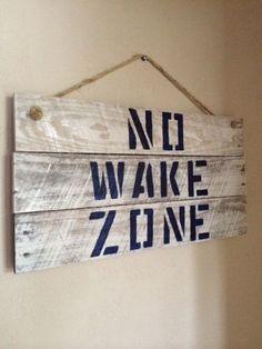 No Wake Zone, Personalized Home Decor, Baby Nursery, Nautical Home Decor