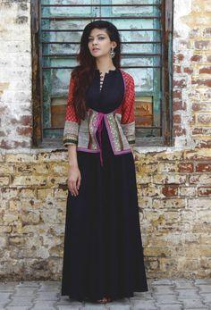 Kanjari black dress with jacket  |  Shop now: www.thesecretlabel.com