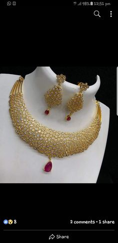 bridal sets & bridesmaid jewelry sets – a complete bridal look Jewelry Design Earrings, Gold Earrings Designs, Necklace Designs, Pendant Jewelry, Pendant Necklace, Gold Bangles Design, Gold Jewellery Design, Gold Jewelry, Bridesmaid Jewelry Sets