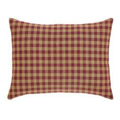 Burgundy Check Pillow Fabric 14x18
