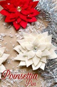 DIY felt Poinsettia Pin tutorial - nice for bows on Christmas gifts! Christmas Projects, Felt Crafts, Holiday Crafts, Holiday Ideas, Noel Christmas, Winter Christmas, Christmas Ornaments, Felt Flowers, Paper Flowers