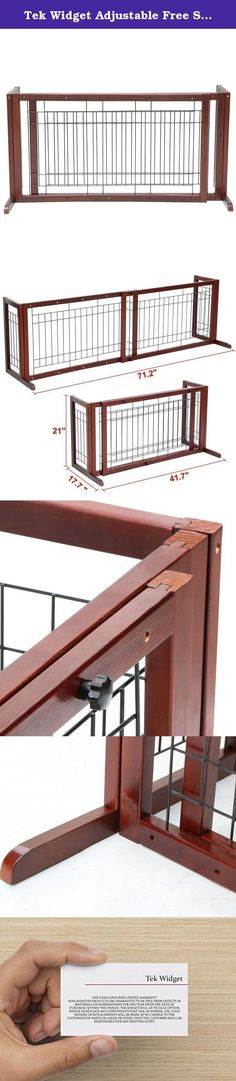"""Tek Widget Adjustable Free Standing Indoor Dog Wood Gate/Fence. A great way to restrict the movement of small to medium dogs. Such as beagles, bulldogs, miniature poodles and other dogs of similar sizes. The solid wooden construction and adjustable length design can work for doors, hallways and double-door entries within 71""""."""