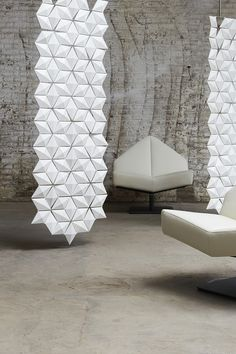Add some Flair to a Smaller Room or Space with a suitable Room Divider. #roomdivider #small #spaces #facet #designidea #white #suspended  #hanging #divider #diy
