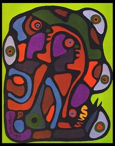 >>> Norval Morrisseau Facts, Articles & Art: Adam and Eve and the Serpent - Norval Morrisseau 1974 Native Canadian, Canadian Artists, South American Art, Native American Art, Woodlands School, Adam And Eve, Color Studies, Global Art, Native Art