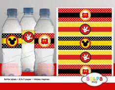 ratón de Mickey la botella de agua inspirada etiquetas imprimibles bebé ducha cumpleaños descarga inmediata imprimible conjunto2