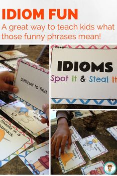 A fun way to teach idioms. Teaching Language Arts, Classroom Language, Teaching Writing, Speech And Language, Teaching English, Teaching Ideas, Teaching Vocabulary, Teaching Grammar, Student Teaching