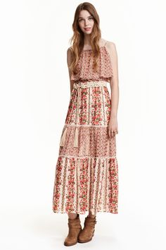Vestido largo de gasa   H&M