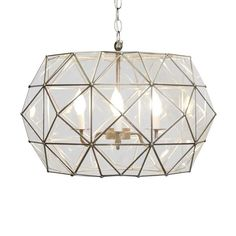 """Rozz UFO style pendant in clear glass with light bronze accents TIN AND CLEAR GLASS CHANDELIER 14H x 24""""Dia Hardwire only 3' matching chain and canopy 60 watt m"""