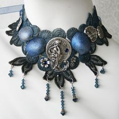 THE DREAMER Beach Ocean Shell Lace Choker by AngelfishOriginals, $56.00